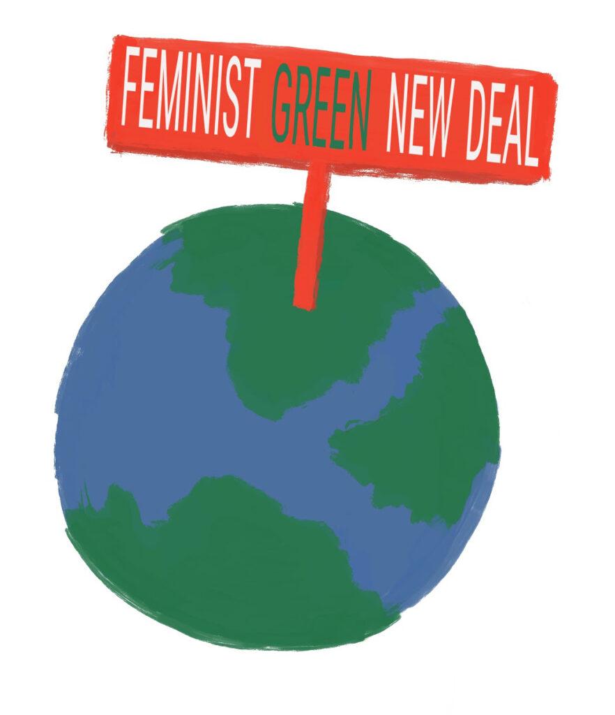 Feminist Green New Deal globe